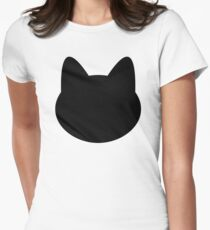 Simple Black Cat Womens Fitted T-Shirt