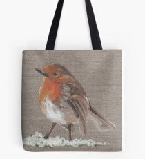 Winter Robin Oil Painting by Angela Brown Art Tote Bag