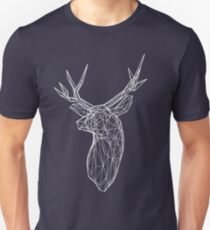 3D White Line Stag Deer Polygon Head Unisex T-Shirt
