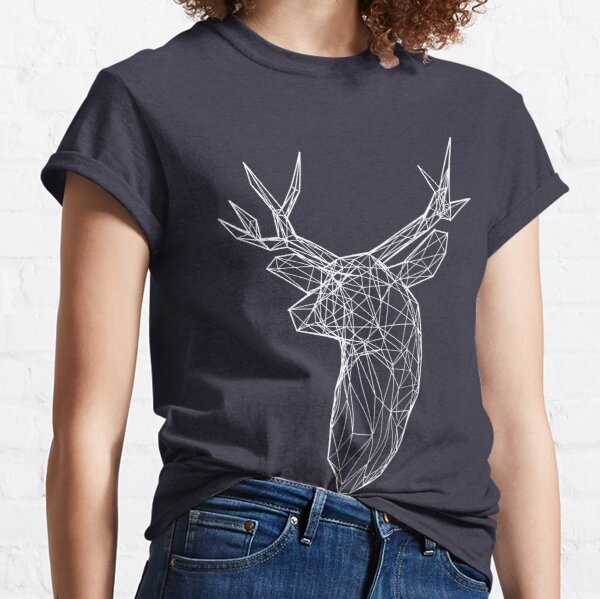 3D White Line Stag Deer Polygon Head Classic T-Shirt