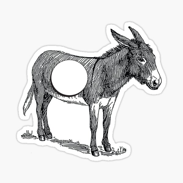 Asno (burro con un agujero) Pegatina