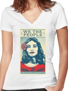We The People Defend Dignity Women's Fitted V-Neck T-Shirt