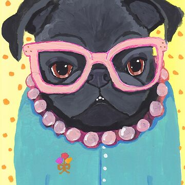 Edna the Librarian - Black Pug by chickenpants