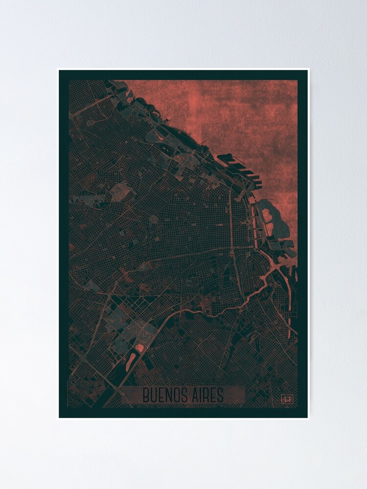 Alternate view of Buenos Aires Map Red Poster