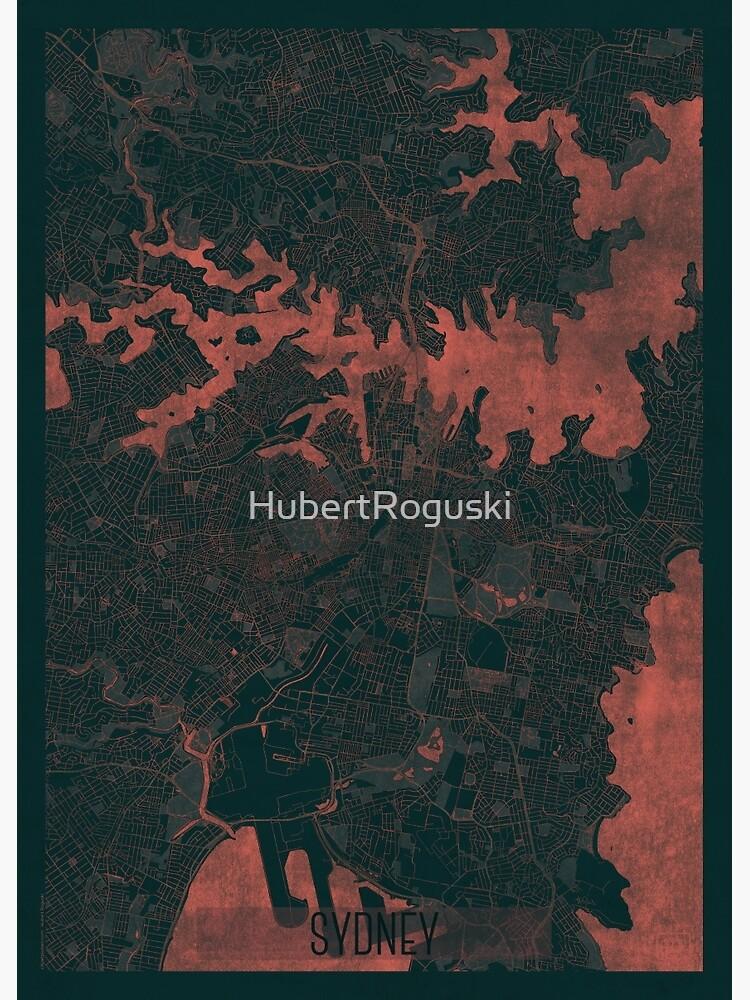Sydney Map Red by HubertRoguski