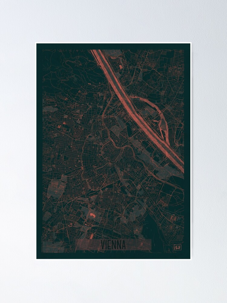 Alternate view of Vienna Map Red Poster