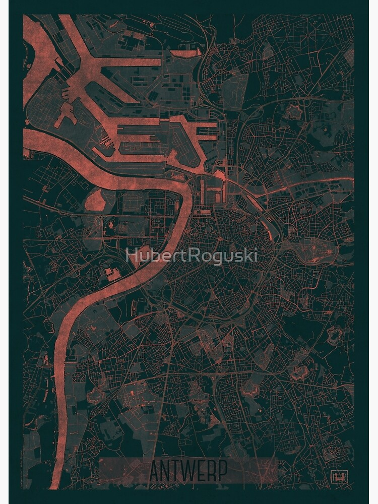 Antwerp Map Red by HubertRoguski