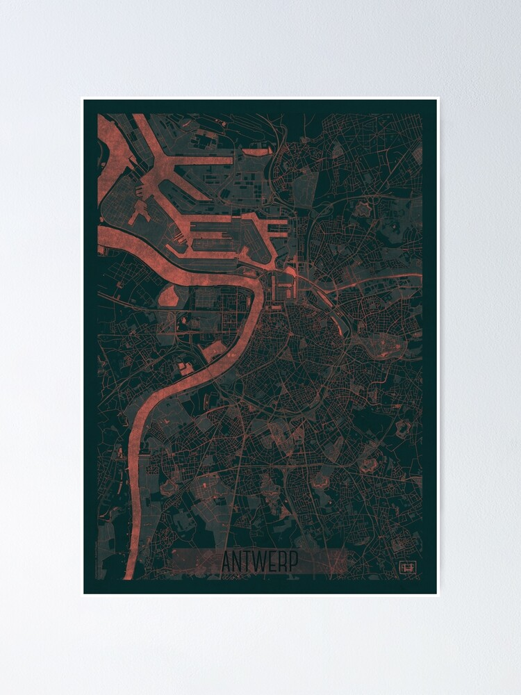 Alternate view of Antwerp Map Red Poster