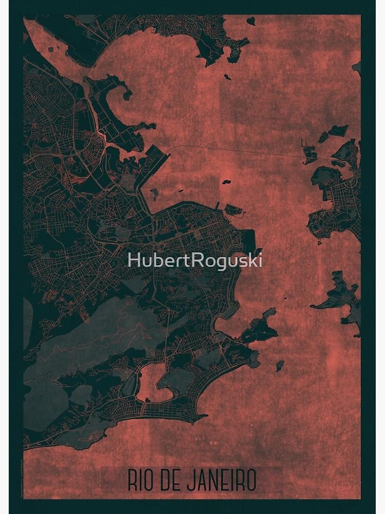 Rio de Janerio Map Red by HubertRoguski