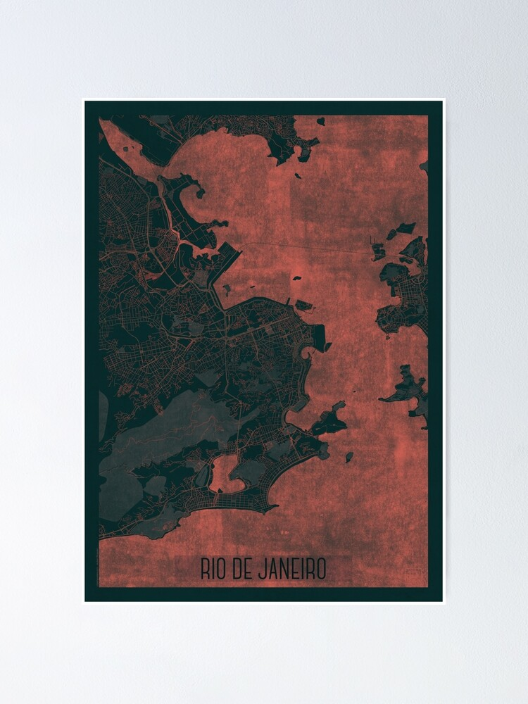 Alternate view of Rio de Janerio Map Red Poster