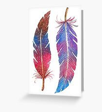 Feathers Two Ways Greeting Card