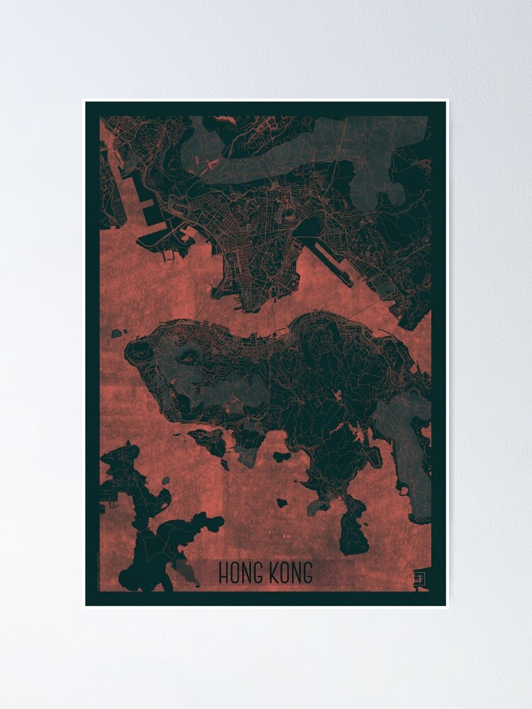 Alternate view of Hong Kong Map Red Poster