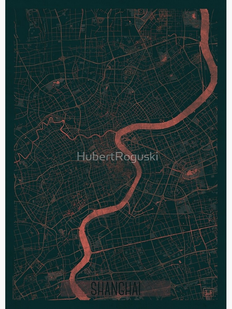 Shanghai Map Red by HubertRoguski