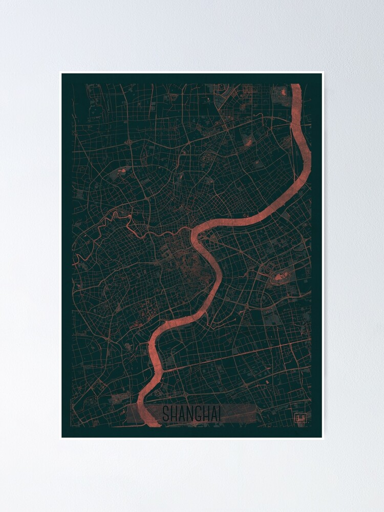 Alternate view of Shanghai Map Red Poster