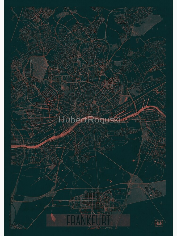 Frankfurt Map Red by HubertRoguski