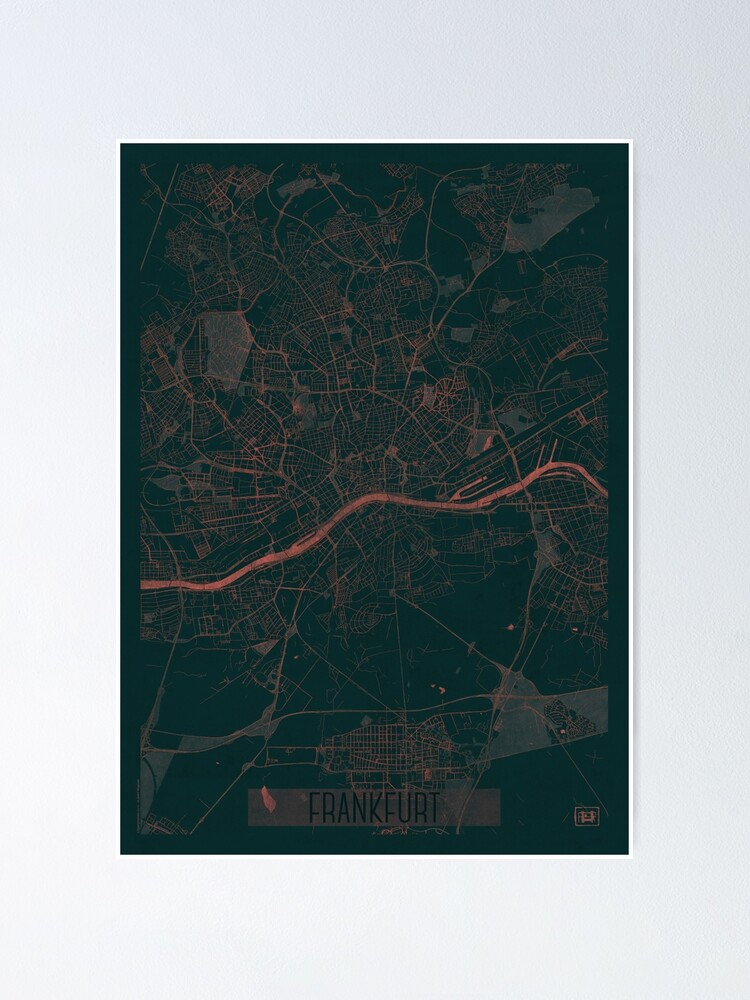Alternate view of Frankfurt Map Red Poster