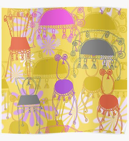 fancy chairs with spirals and tassels Poster