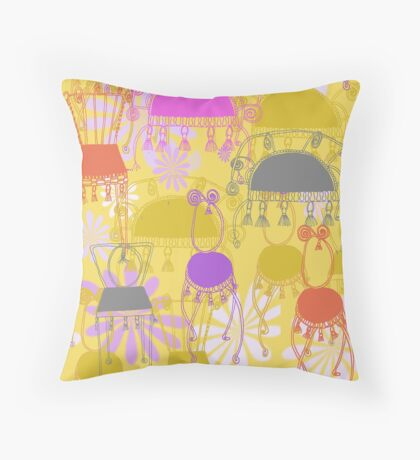 fancy chairs with spirals and tassels Throw Pillow