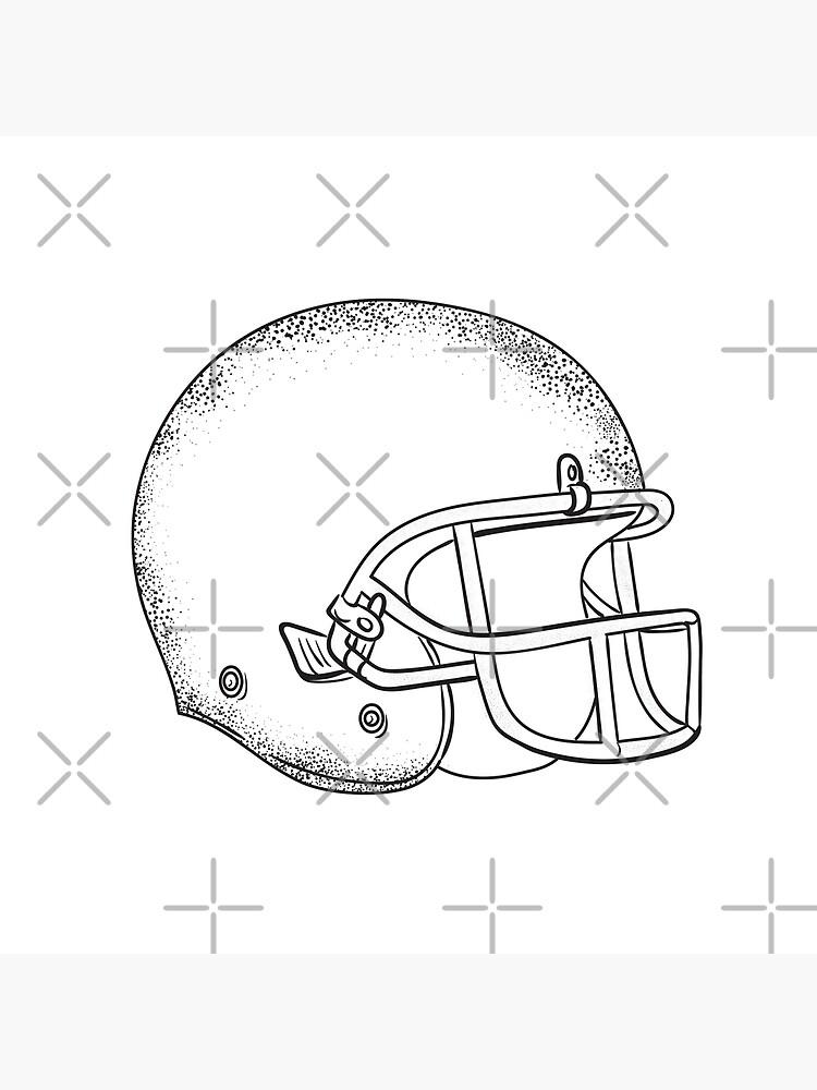 American Football Helmet Black And White Drawing Art Board Print By Patrimonio Redbubble