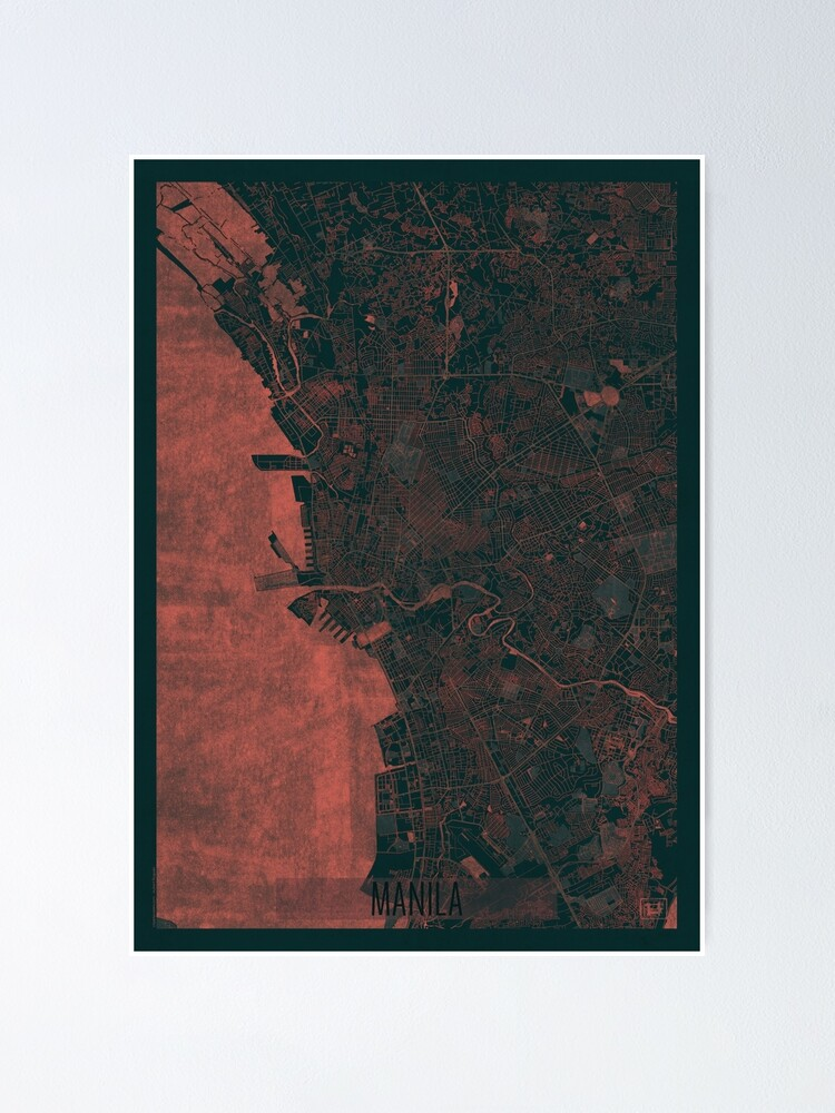Alternate view of Manila Map Red Poster