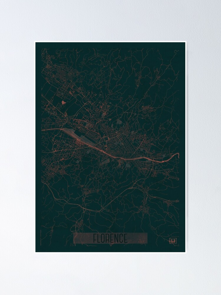 Alternate view of Florence Map Red Poster