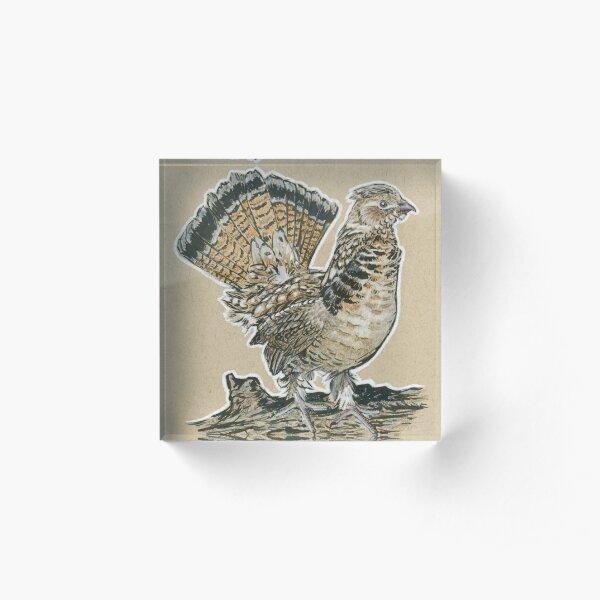 State Bird Series:  Pennsylvania - Ruffed Grouse Acrylic Block