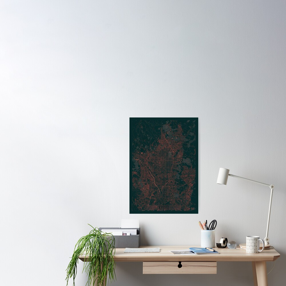 Kyoto Map Red Poster