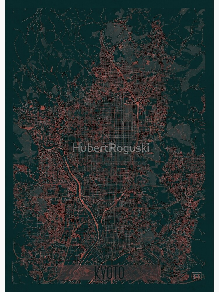 Kyoto Map Red by HubertRoguski