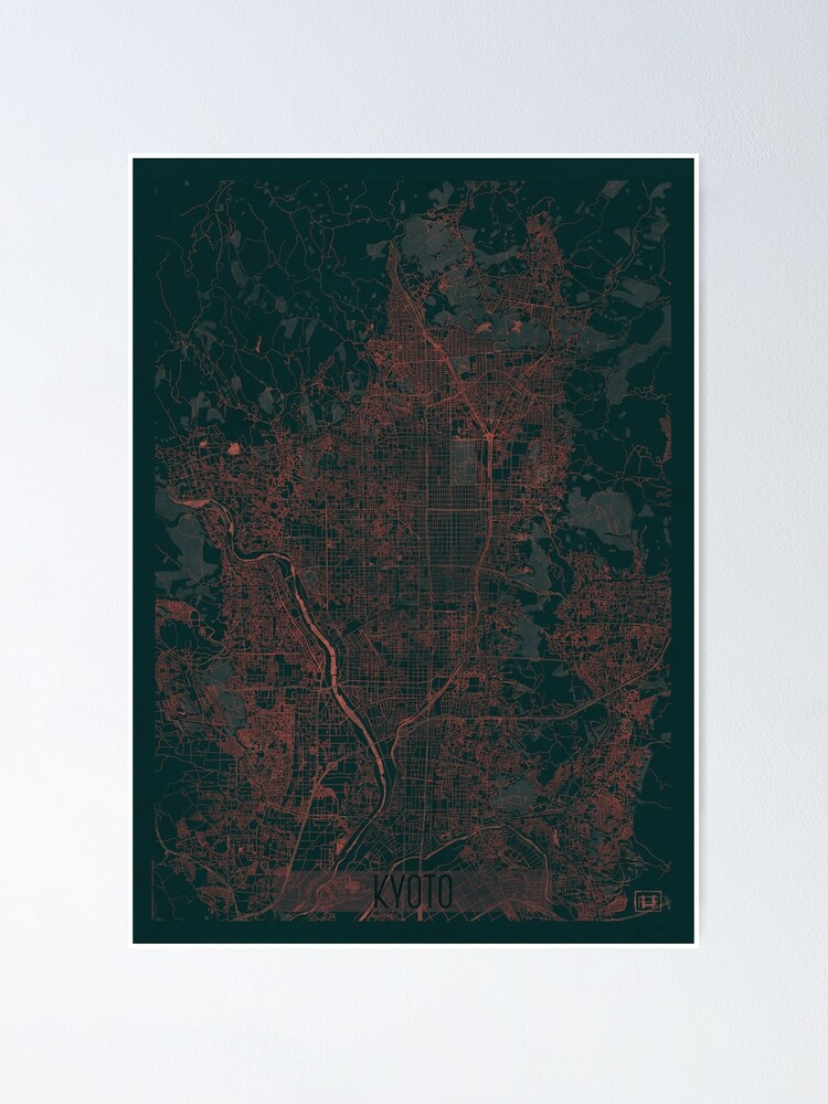 Alternate view of Kyoto Map Red Poster