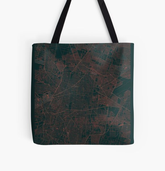 Mexico City Map Red All Over Print Tote Bag