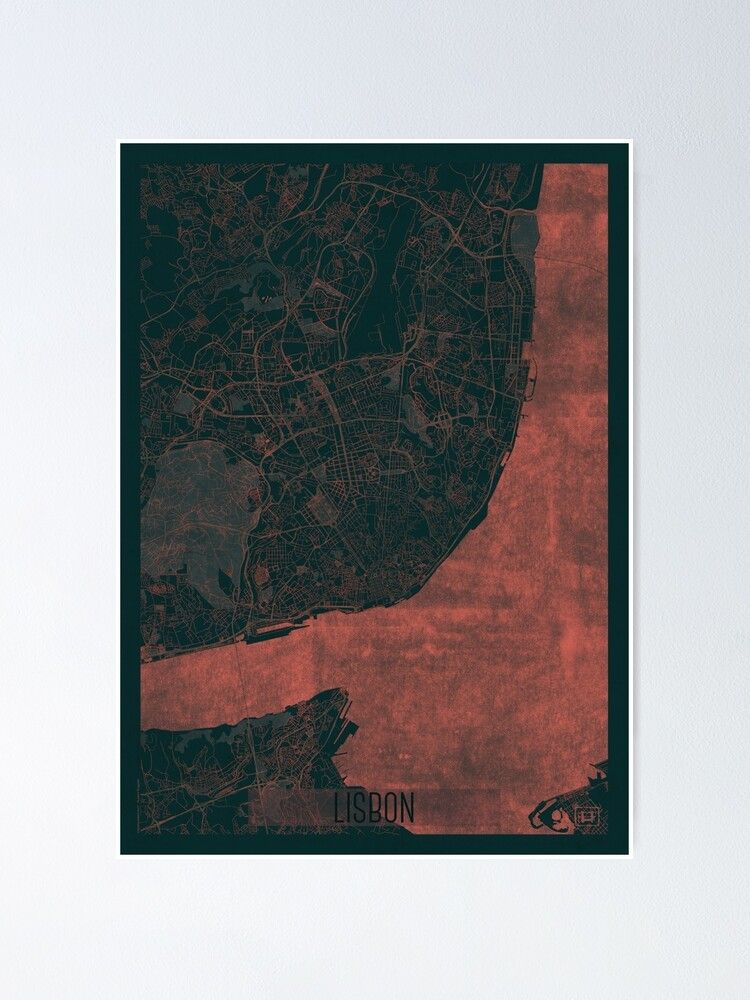 Alternate view of Lisbon Map Red Poster