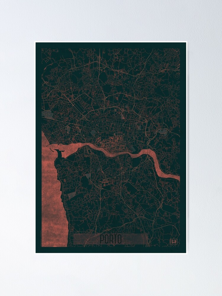 Alternate view of Porto Map Red Poster