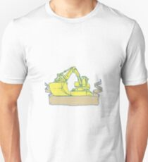 Mechanical Digger Excavator Ribbon Scroll Drawing Unisex T-Shirt