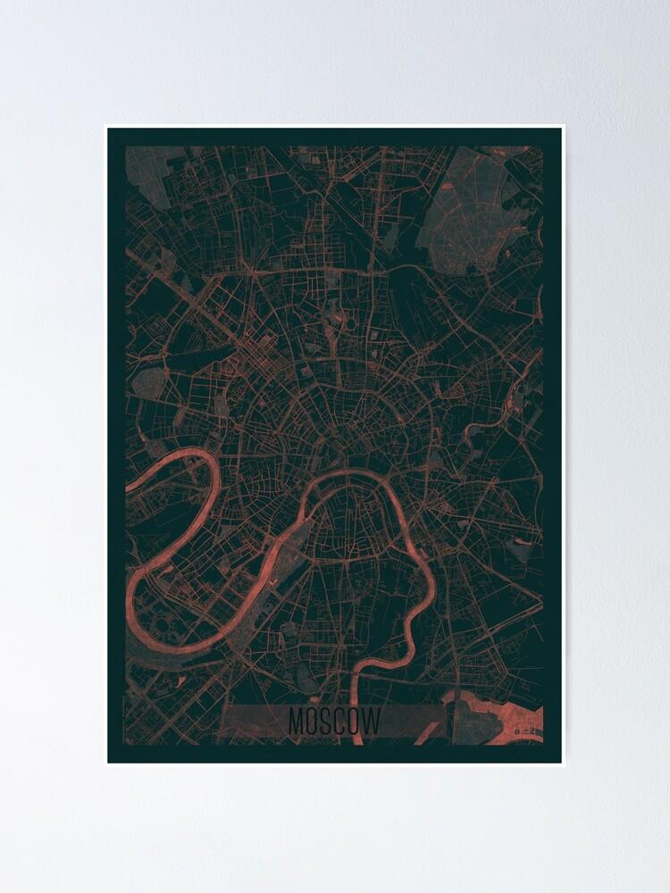 Alternate view of Moscow Map Red Poster