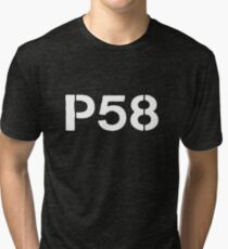 P58 - LOGO WHITE FOR DARK BACKGROUND Tri-blend T-Shirt