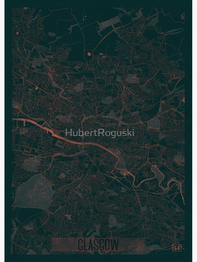 Glasgow Map Red by HubertRoguski