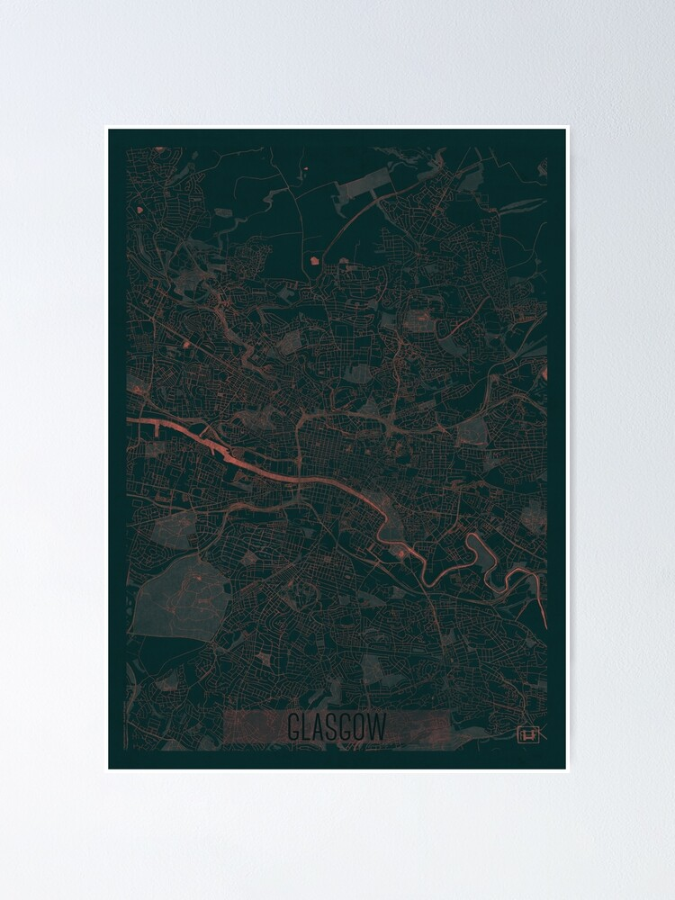 Alternate view of Glasgow Map Red Poster