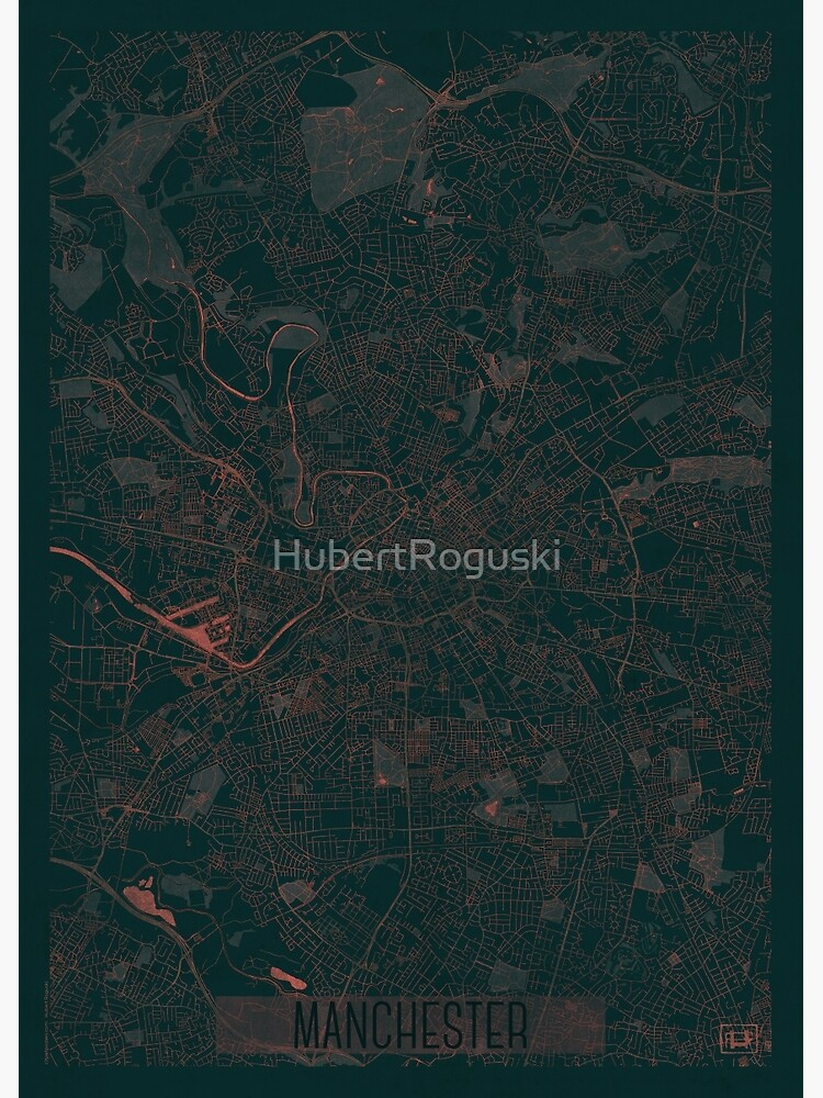 Manchester Map Red by HubertRoguski