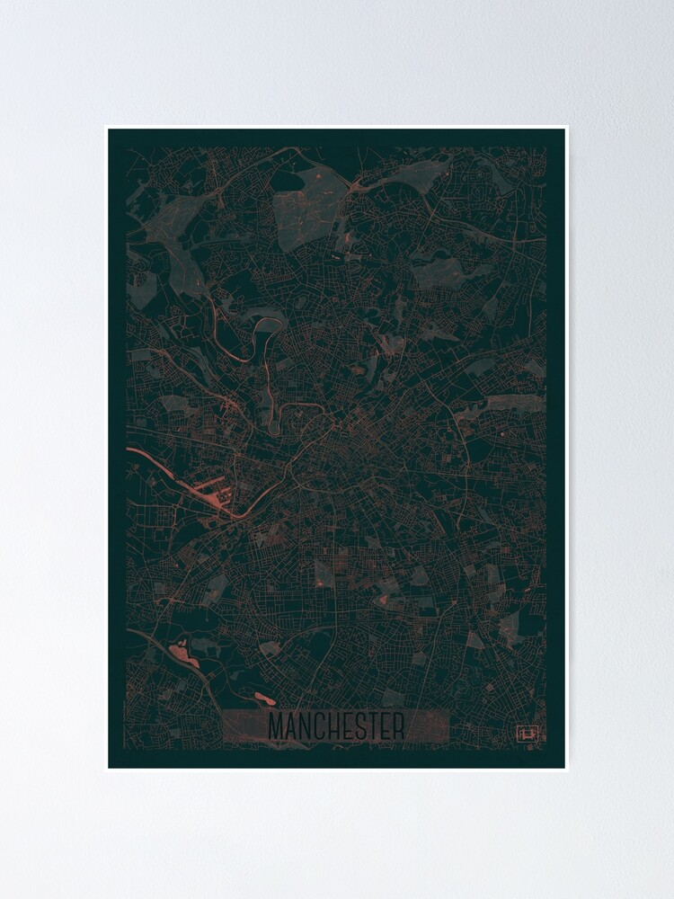 Alternate view of Manchester Map Red Poster