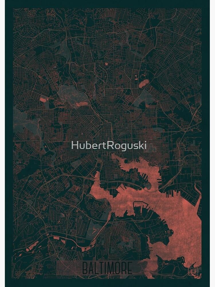 Baltimore Map Red by HubertRoguski
