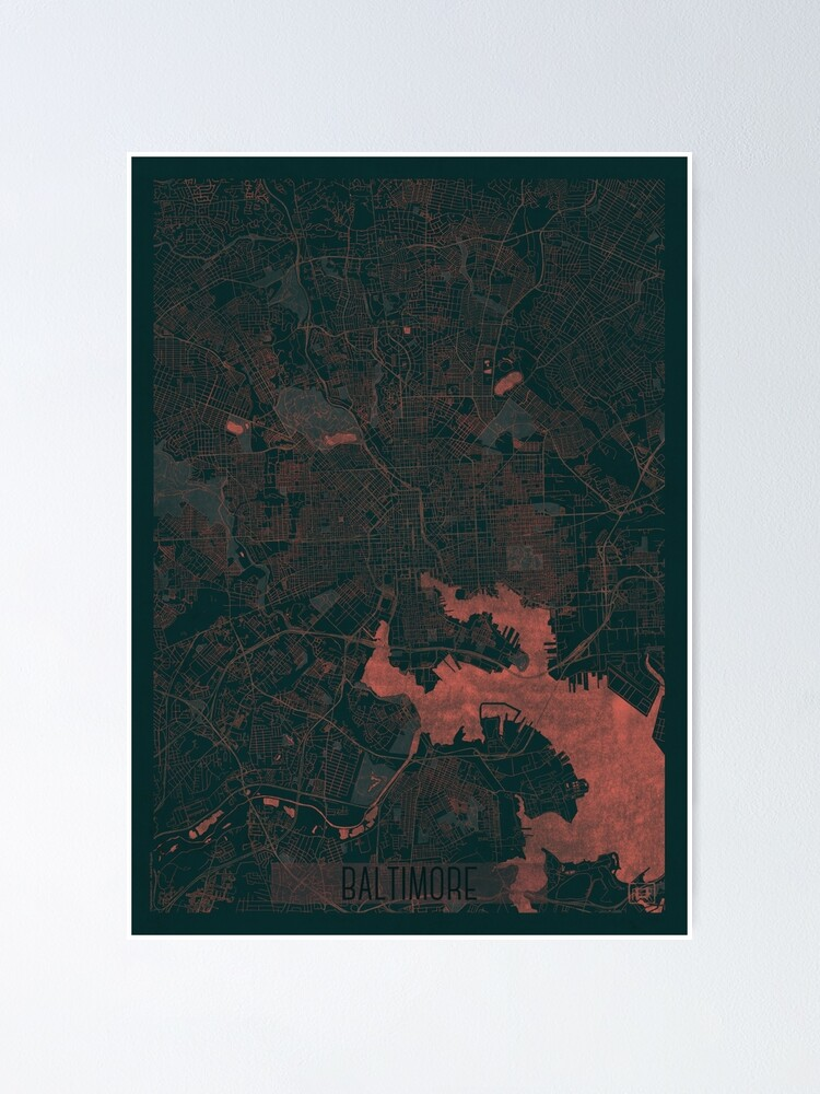 Alternate view of Baltimore Map Red Poster
