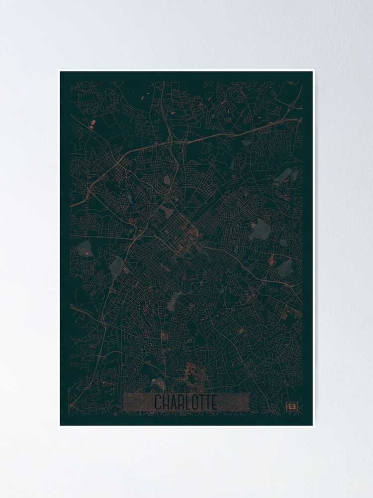 Alternate view of Charlotte Map Red Poster
