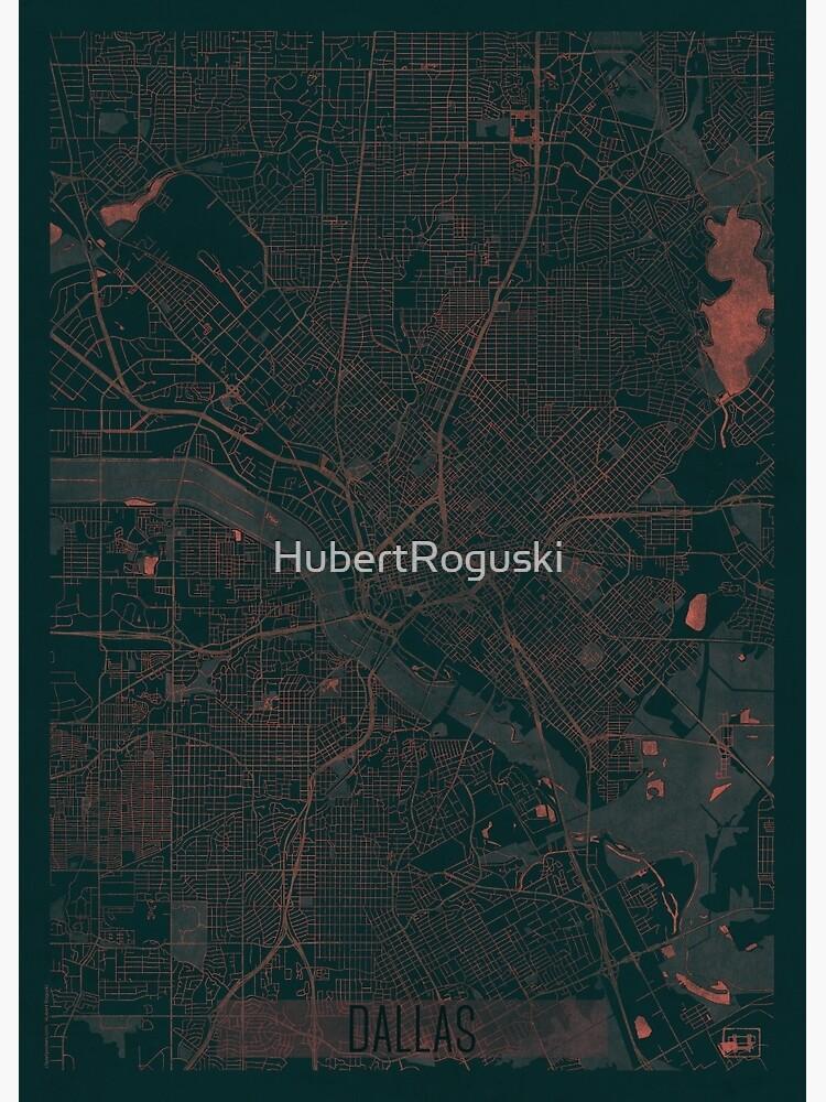 Dallas Map Red by HubertRoguski