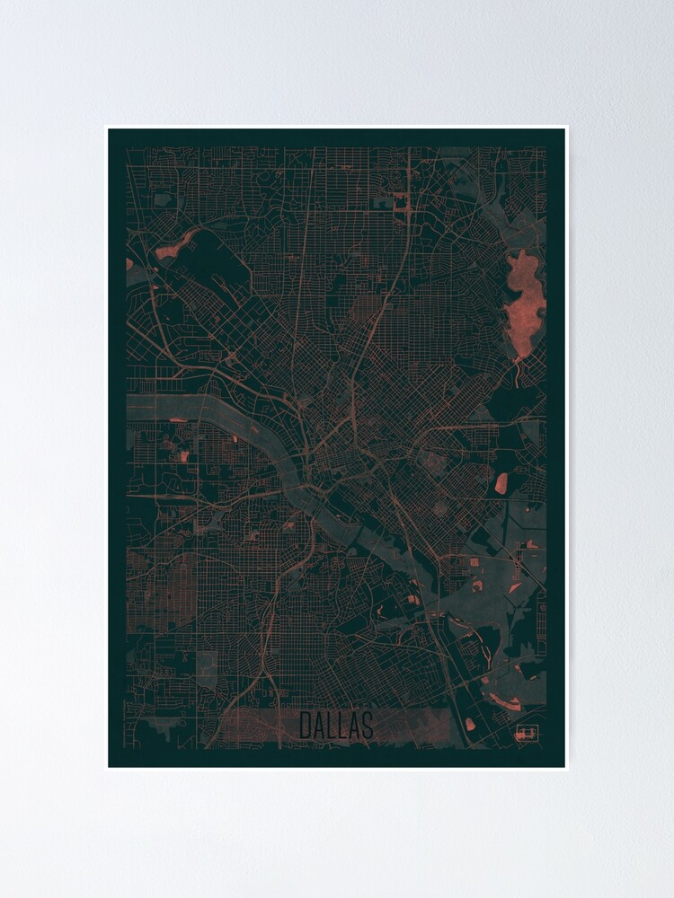 Alternate view of Dallas Map Red Poster