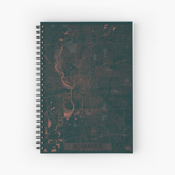Indianapolis Map Red Spiral Notebook