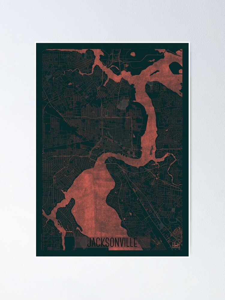 Alternate view of Jacksonville Map Red Poster