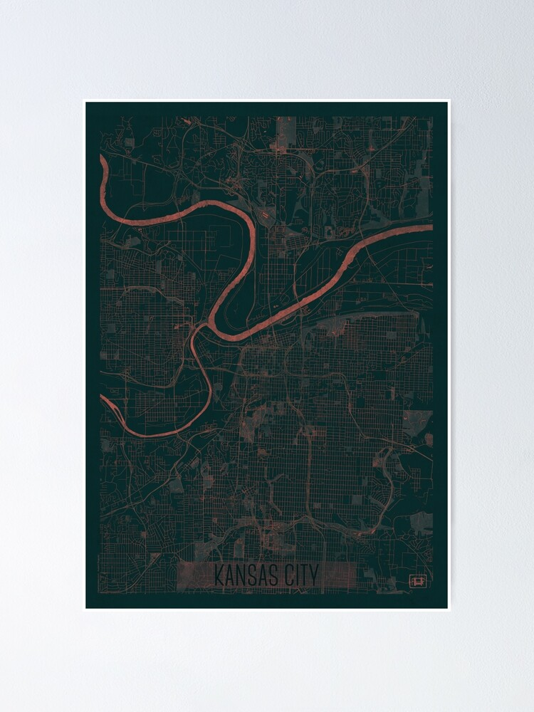 Alternate view of Kansas City Map Red Poster