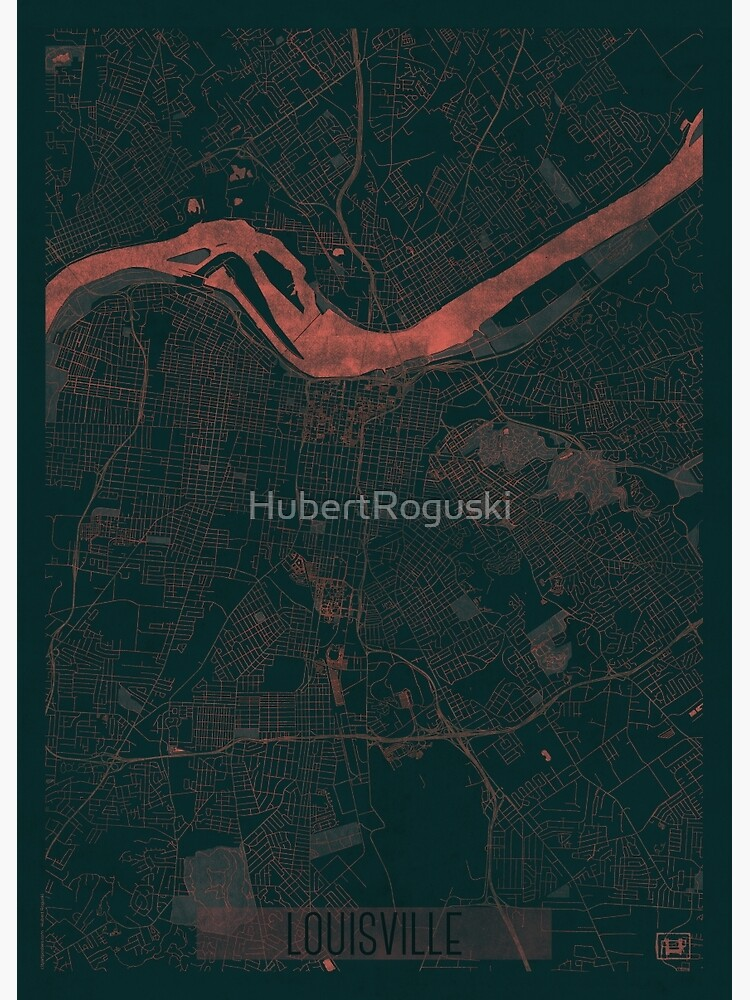 Louisville Map Red by HubertRoguski