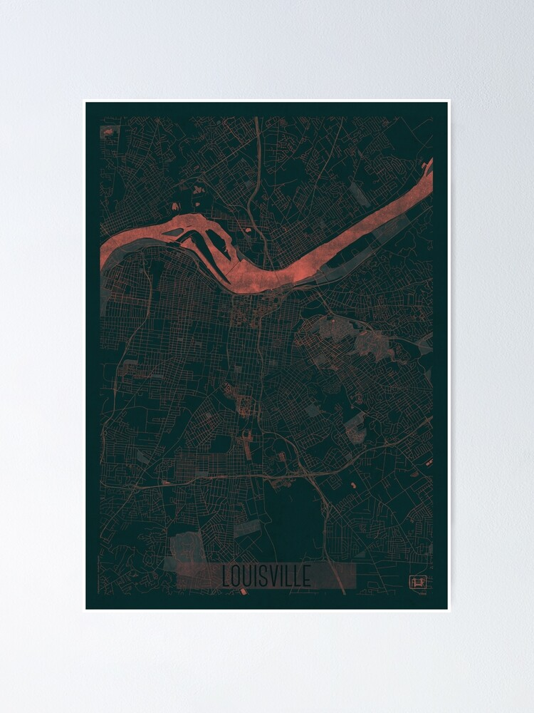 Alternate view of Louisville Map Red Poster