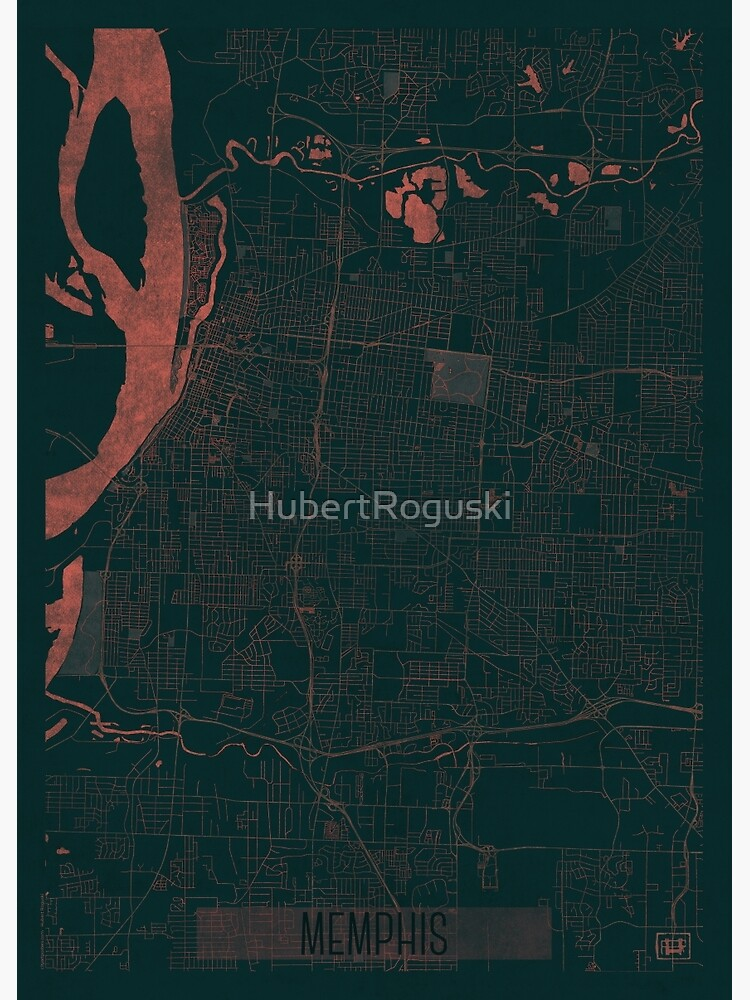 Memphis Map Red by HubertRoguski